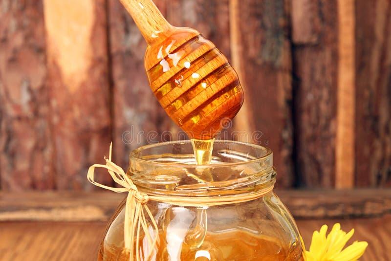 Γλυκό μέλι Delisious που ρέει κάτω στο βάζο γυαλιού στοκ φωτογραφίες με δικαίωμα ελεύθερης χρήσης