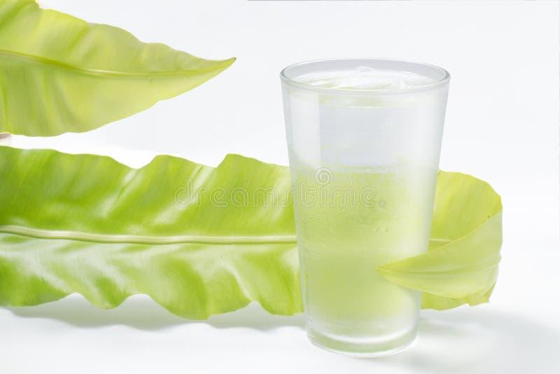 Γλυκό νερό στο γυαλί με το πράσινο φύλλο στο λευκό στοκ φωτογραφίες