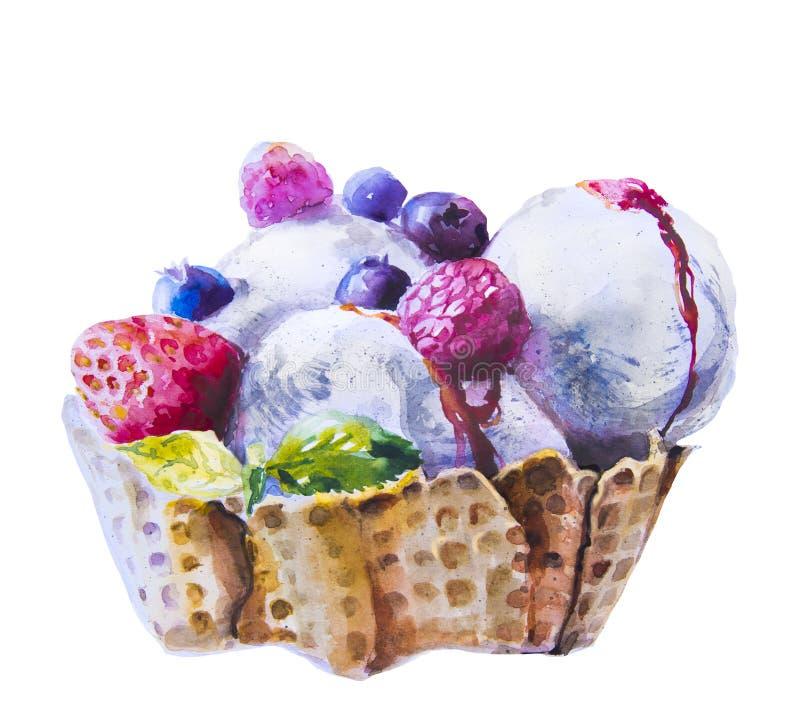 Γλυκό παγωτό Watercolor με το μούρο ελεύθερη απεικόνιση δικαιώματος