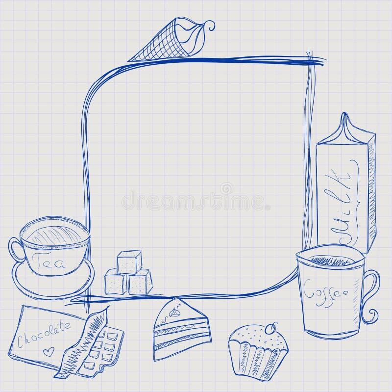 Γλυκό πλαίσιο τροφίμων και καφέ απεικόνιση αποθεμάτων