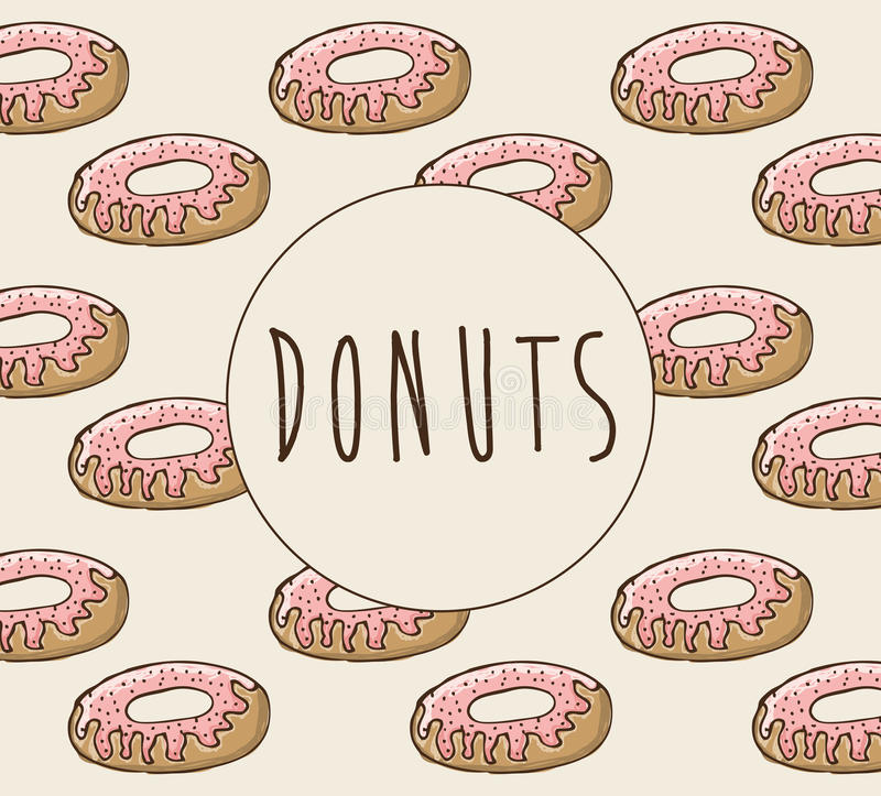 Γλυκό σχέδιο donuts διανυσματική απεικόνιση