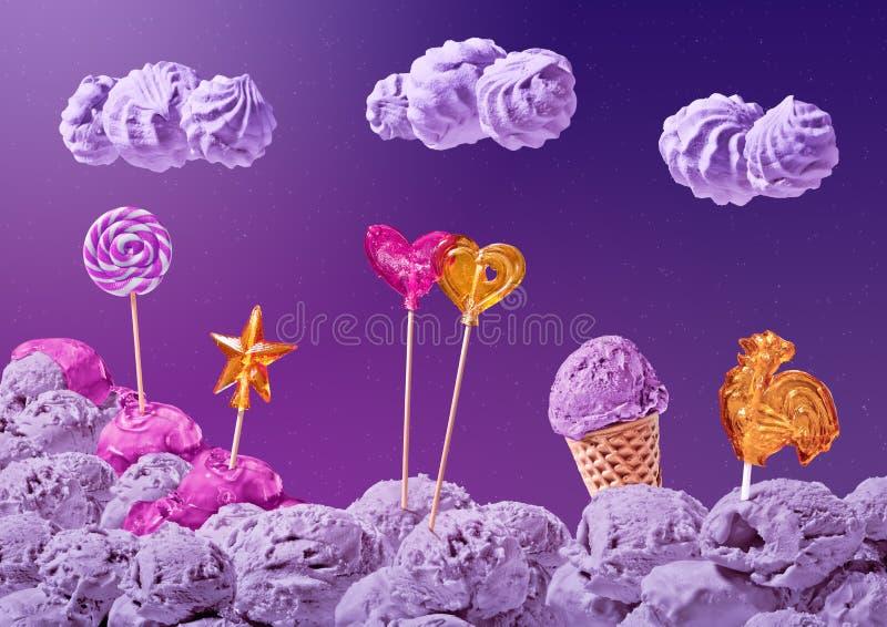 Γλυκό τοπίο του παγωτού και της καραμέλας διανυσματική απεικόνιση