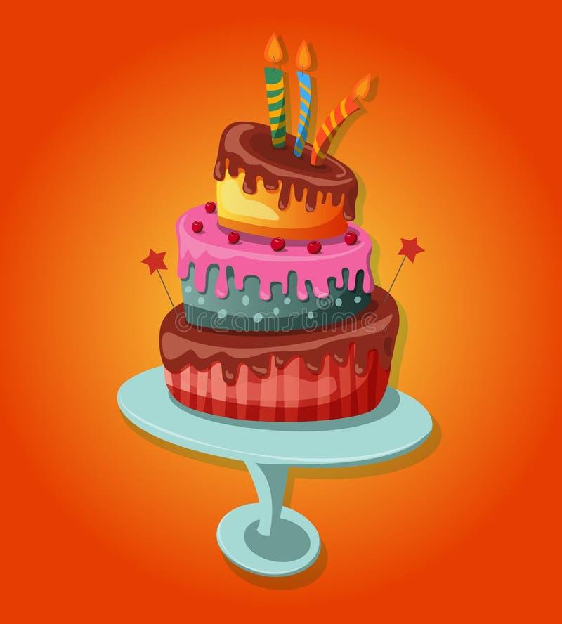 Γλυκό ψημένο απομονωμένο κέικ απεικόνιση αποθεμάτων