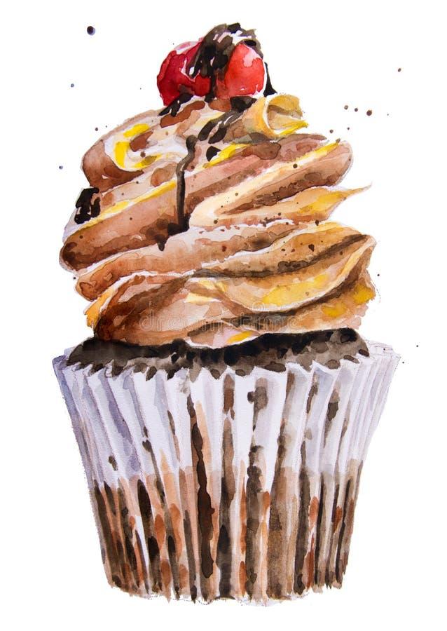 Γλυκό cupcake Watercolor διανυσματική απεικόνιση