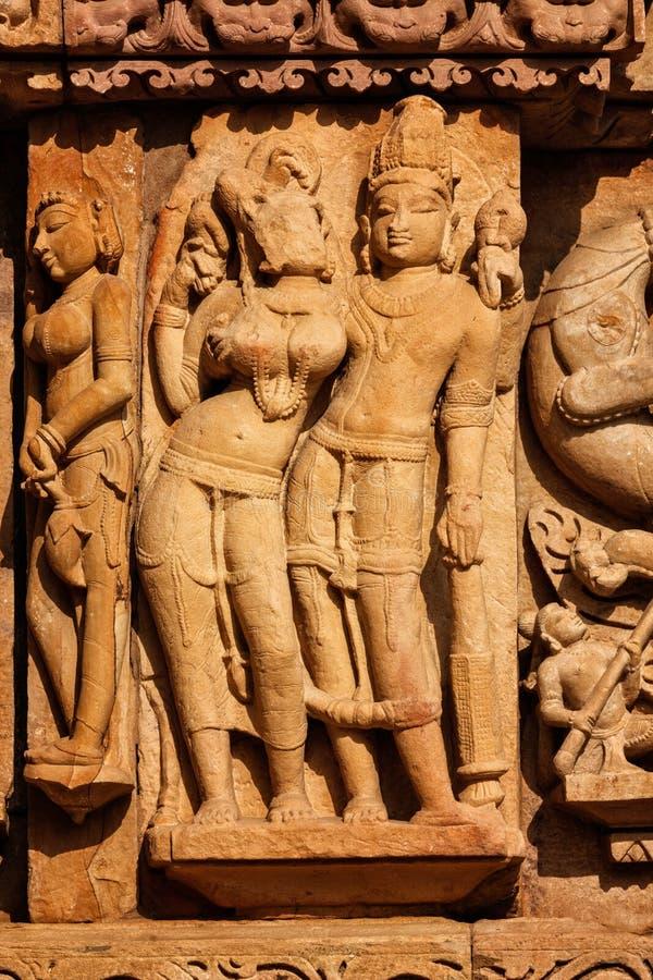 Γλυπτά στο ναό Adinath Jain, Khajuraho στοκ φωτογραφίες