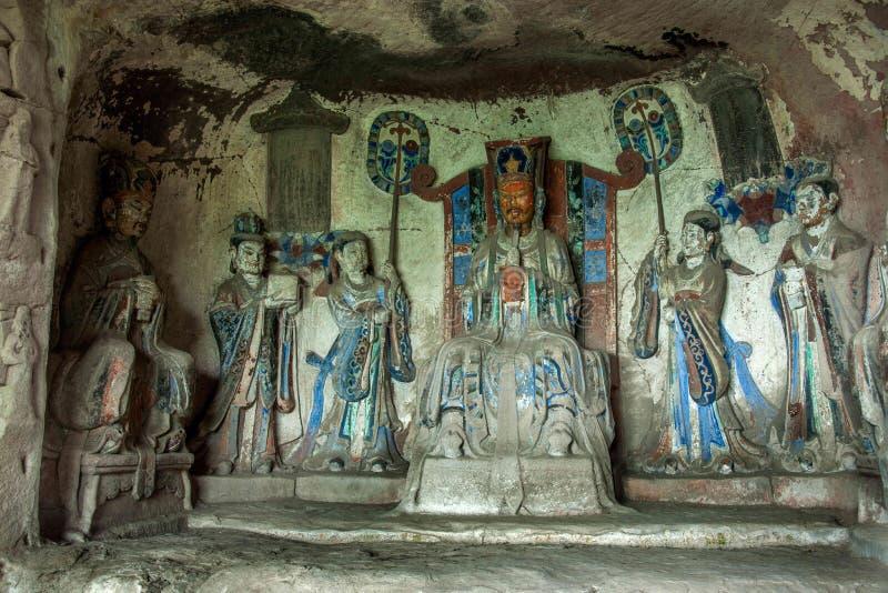 Γλυπτικές βράχου Dazu στις diagenetic θέσεις νεφριτών απότομων βράχων Chongqing Shu στοκ εικόνες