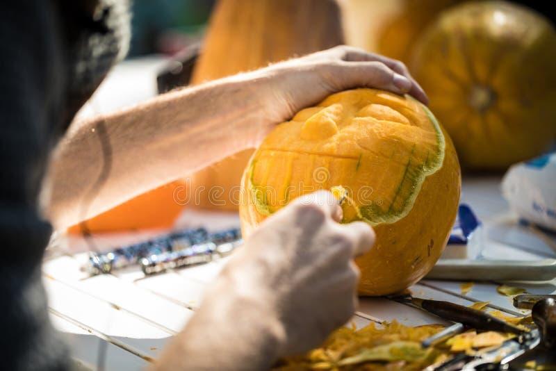 Γλυπτική κολοκύθας Helloween στοκ εικόνα