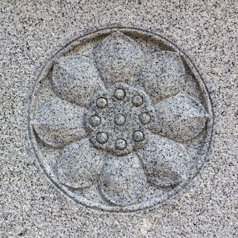 Γλυπτική πετρών λουλουδιών Lotus. στοκ φωτογραφία με δικαίωμα ελεύθερης χρήσης