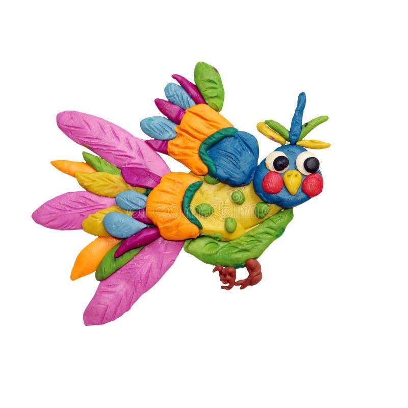 Γλυπτό πουλιών φαντασίας Plasticine που απομονώνεται στοκ φωτογραφίες με δικαίωμα ελεύθερης χρήσης