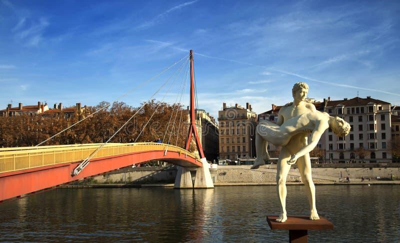 Γλυπτό του βάρους σου στη Λυών, Γαλλία στοκ φωτογραφία