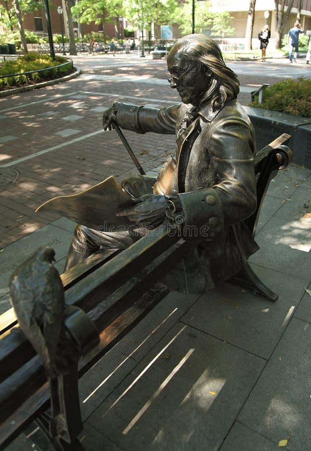 Γλυπτό του Benjamin Franklin στο Πανεπιστήμιο της Πενσιλβάνια στοκ φωτογραφία