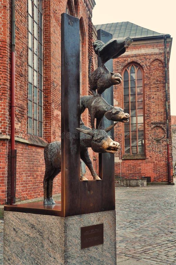 Γλυπτό των πόλης μουσικών της Βρέμης στοκ εικόνα