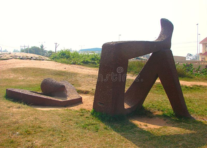 Γλυπτό χαλάρωσης στην παραλία Shankumugham, Thiruvananthapuram, Κεράλα, Ινδία στοκ εικόνες