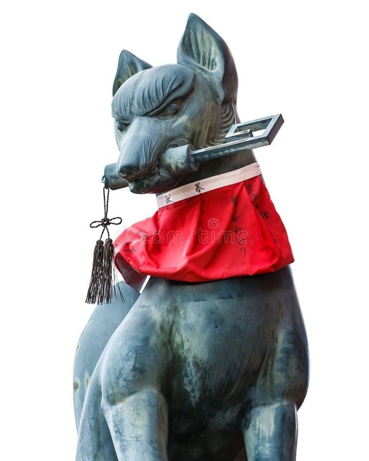 Γλυπτό Kitsune στη λάρνακα inari-Taisha Fushimi στο Κιότο στοκ εικόνες