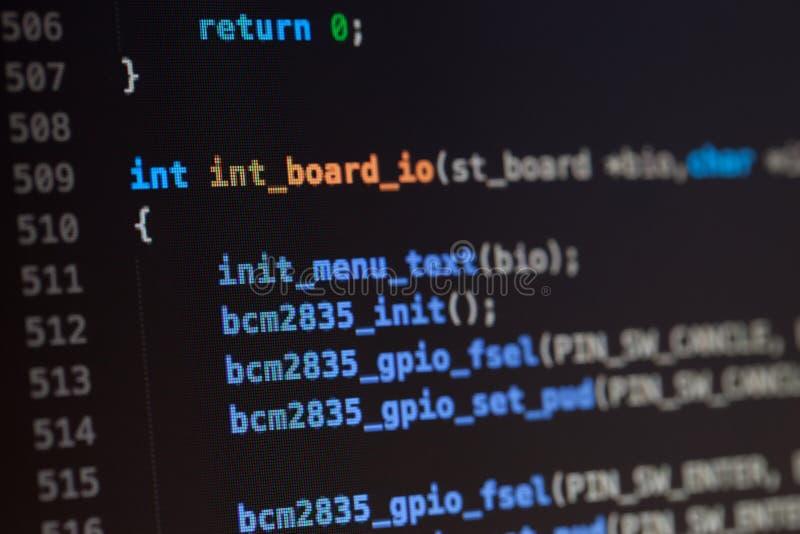 Γλωσσικός κωδικός πηγής υπολογιστών Γ στοκ φωτογραφίες