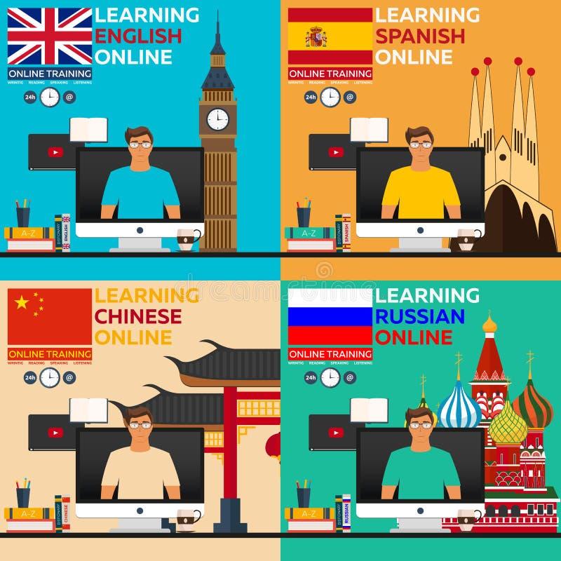 Γλώσσα εκμάθησης σε απευθείας σύνδεση Ρωσική γλώσσα, αγγλικό langluage, ισπανική γλώσσα, κινεζική γλώσσα On-line εκπαιδευτικός Ed απεικόνιση αποθεμάτων