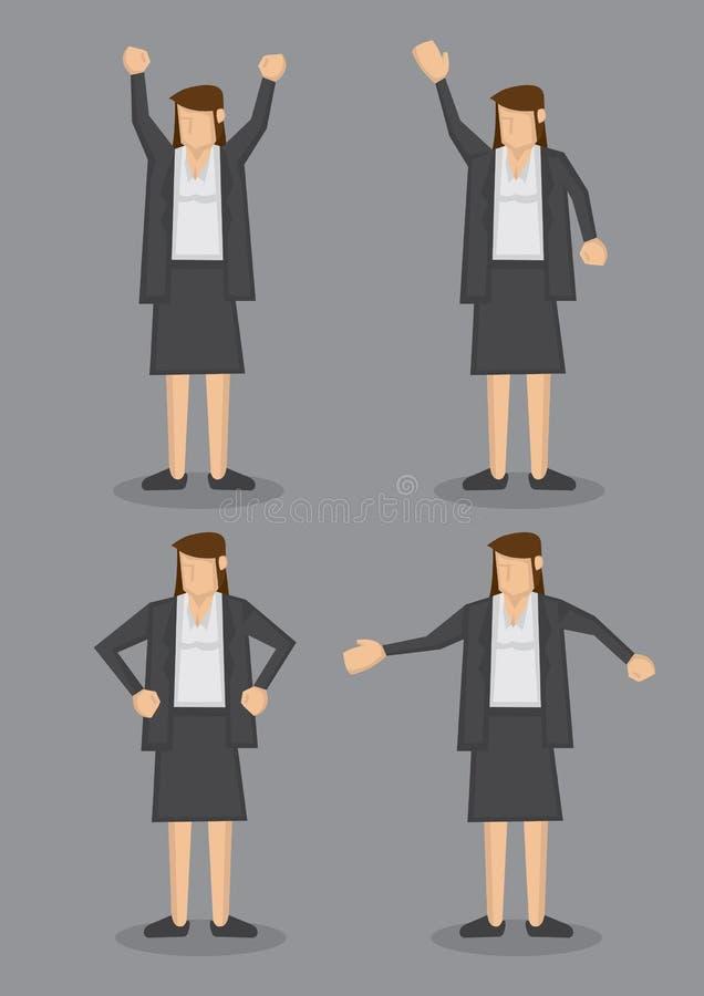 Γλώσσα του σώματος της επαγγελματικής γυναίκας στο επίσημο γκρίζο διάνυσμα Ι κοστουμιών ελεύθερη απεικόνιση δικαιώματος