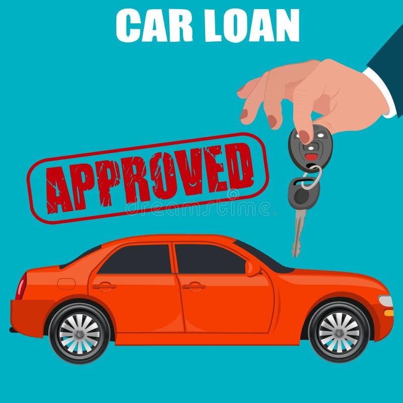 Δάνειο αυτοκινήτων, επίπεδο σχέδιο, διανυσματική απεικόνιση ελεύθερη απεικόνιση δικαιώματος