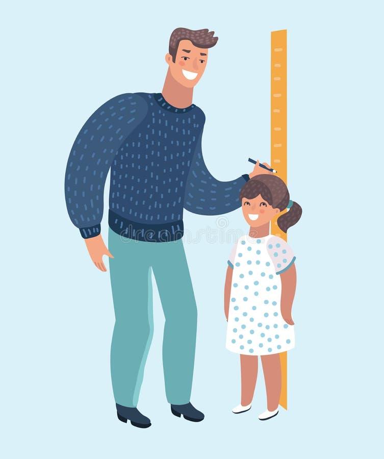 Δάσκαλος ή πατέρας παιδικών σταθμών που μετρά το ύψος παιδιών κοριτσιών με τις χρωματισμένες βαθμολογήσεις στο βέλος τοίχων απεικόνιση αποθεμάτων