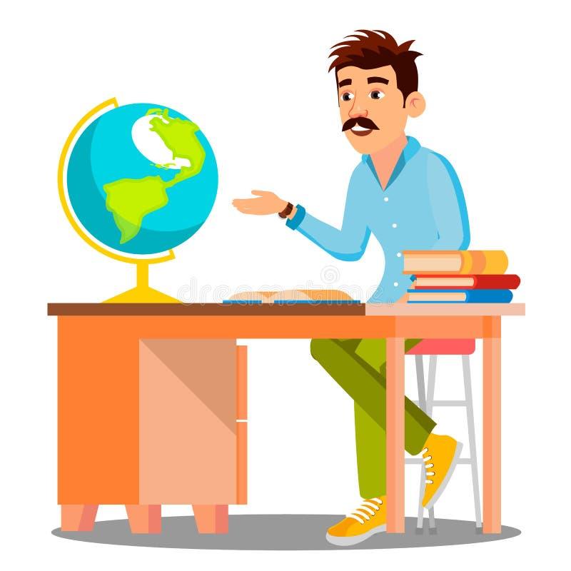 Δάσκαλος γεωγραφίας στα γυαλιά που κάθεται στον πίνακα με τα βιβλία και το διάνυσμα σφαιρών απομονωμένη ωθώντας s κουμπιών γυναίκ απεικόνιση αποθεμάτων