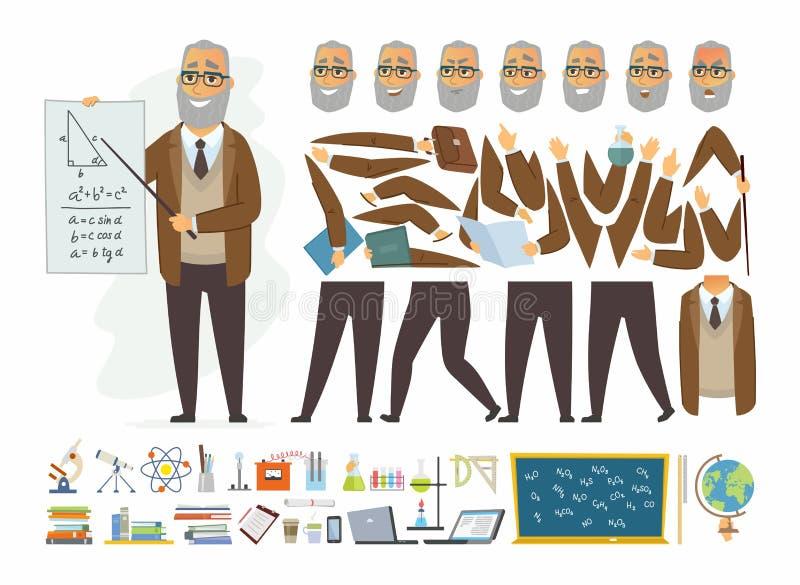 Δάσκαλος - διανυσματικός κατασκευαστής χαρακτήρα ανθρώπων κινούμενων σχεδίων διανυσματική απεικόνιση