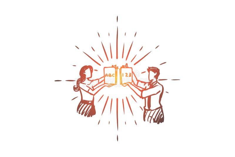 Δάσκαλος, εκπαίδευση, σχολείο, γνώση, έννοια μαθήματος Συρμένο χέρι απομονωμένο διάνυσμα ελεύθερη απεικόνιση δικαιώματος