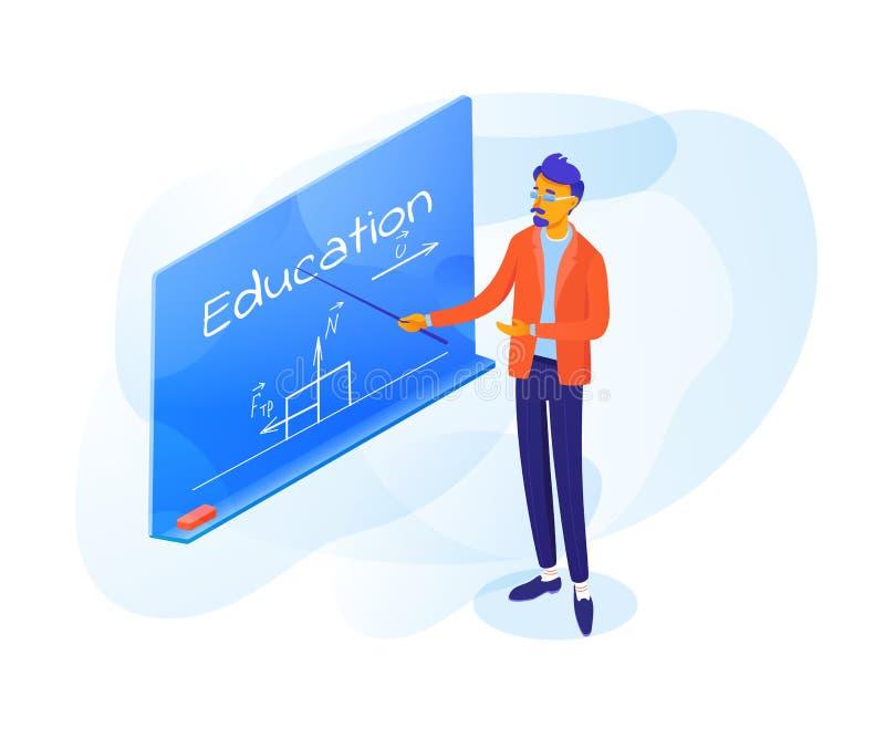 Δάσκαλος που δείχνει στη διανυσματική απεικόνιση πινάκων διανυσματική απεικόνιση
