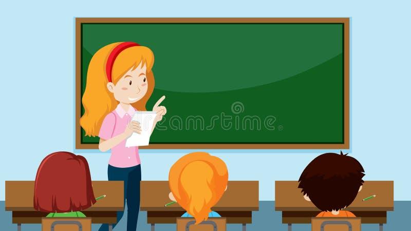 Δάσκαλος που διδάσκει μια κατηγορία διανυσματική απεικόνιση