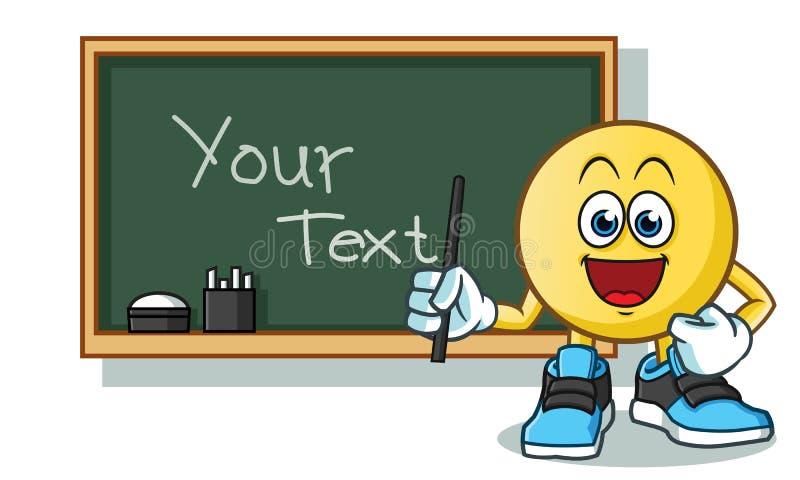 Δάσκαλος Emoticon και μαύρη απεικόνιση κινούμενων σχεδίων μασκότ πινάκων διανυσματική διανυσματική απεικόνιση