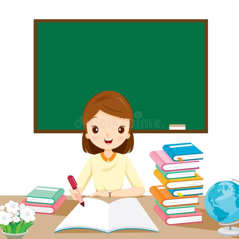 Δάσκαλοι γυναικών που ελέγχουν την εργασία στον πίνακα απεικόνιση αποθεμάτων