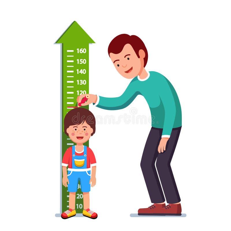Δάσκαλος ή πατέρας που μετρά το ύψος παιδιών αγοριών διανυσματική απεικόνιση