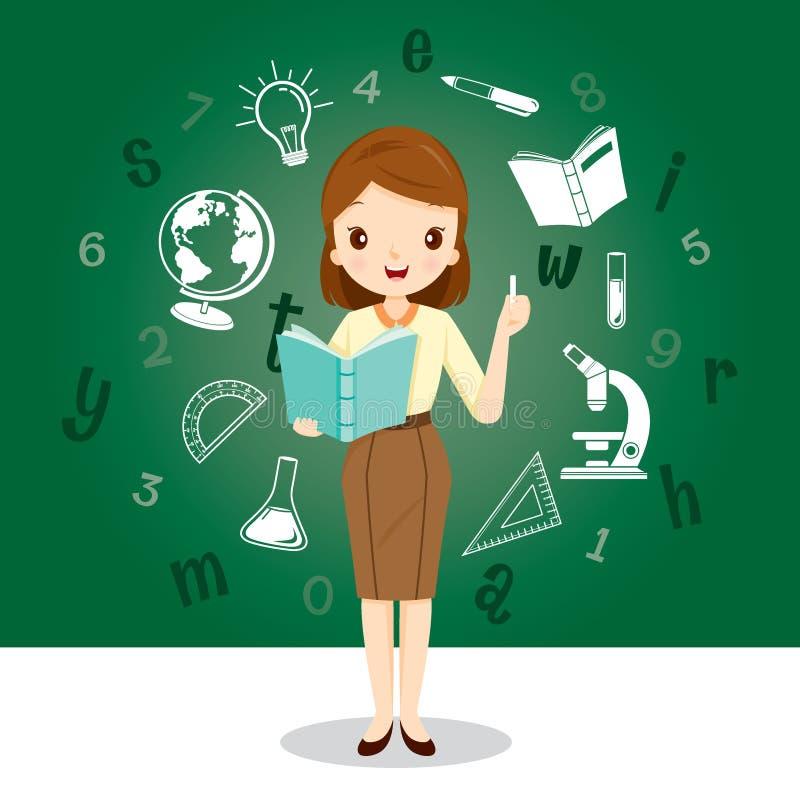 Δάσκαλος γυναικών με τα εκπαιδευτικά εικονίδια προμηθειών ελεύθερη απεικόνιση δικαιώματος