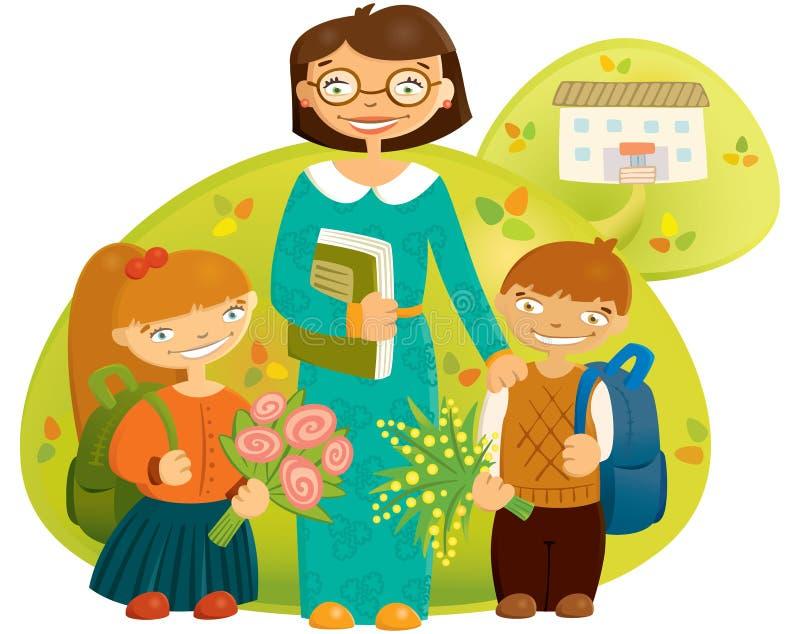 Δάσκαλος και παιδιά απεικόνιση αποθεμάτων