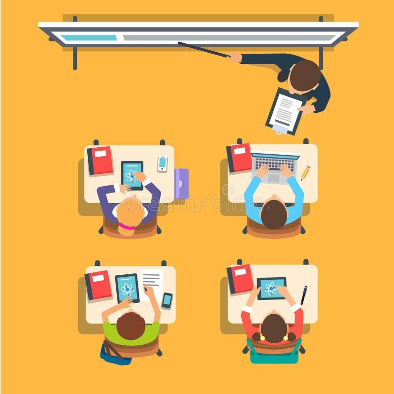 Δάσκαλος μπροστά από τα παιδιά στην τάξη απεικόνιση αποθεμάτων