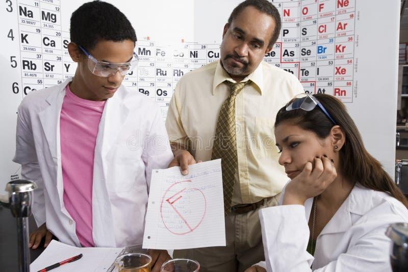 Δάσκαλος που δίνει στους σπουδαστές έναν αποτυχόντα βαθμό στοκ εικόνες