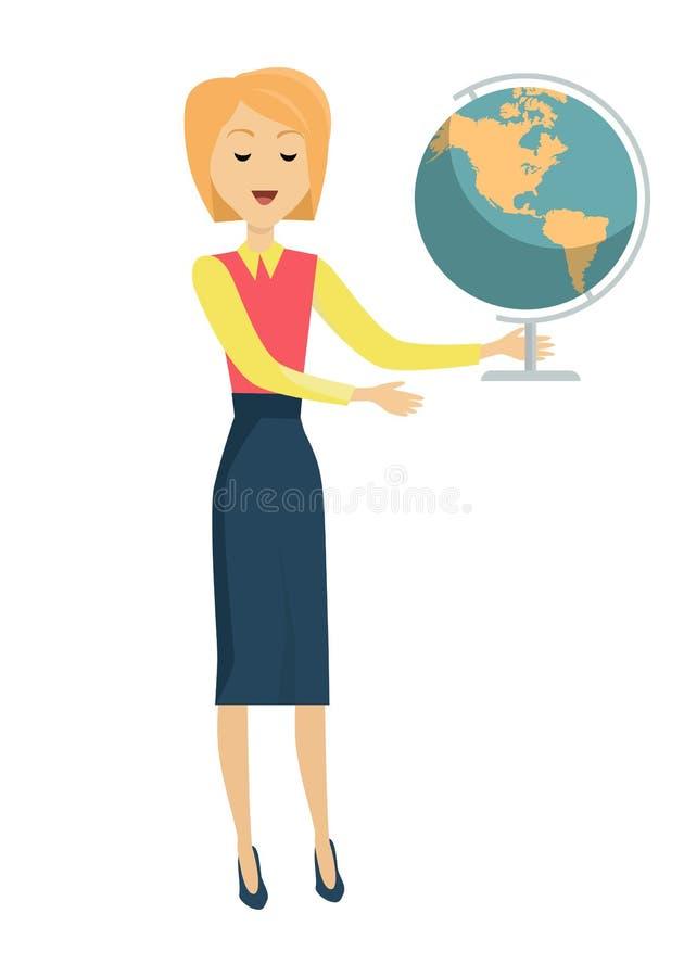 Δάσκαλος σχολείου με τη γήινη σφαίρα ελεύθερη απεικόνιση δικαιώματος