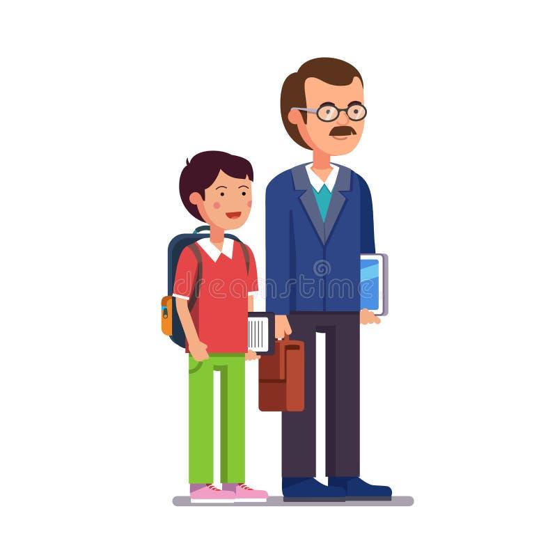 Δάσκαλος σχολείου που στέκεται με το γιο ή το σπουδαστή του απεικόνιση αποθεμάτων