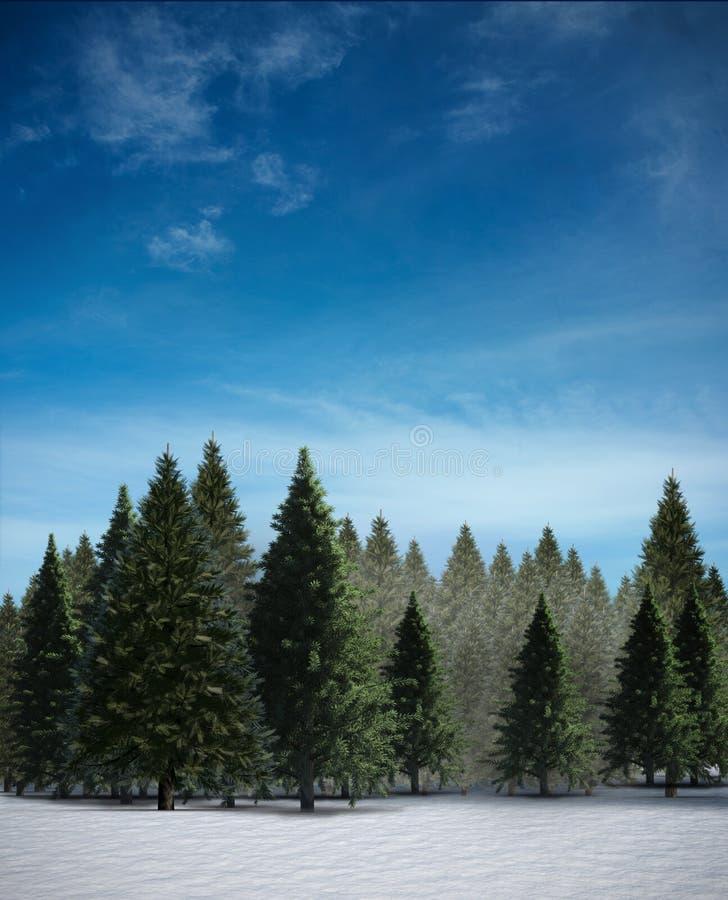 Δάσος δέντρων του FIR στο χιονώδες τοπίο απεικόνιση αποθεμάτων