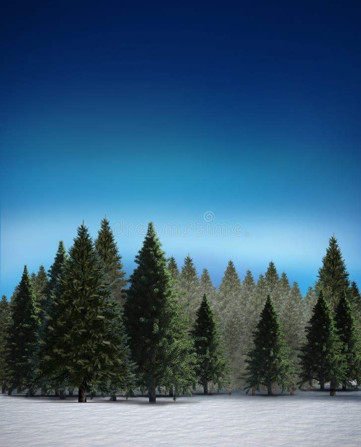 Δάσος δέντρων του FIR στο χιονώδες τοπίο ελεύθερη απεικόνιση δικαιώματος