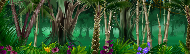 δάσος ανασκόπησης τροπι&kapp διανυσματική απεικόνιση