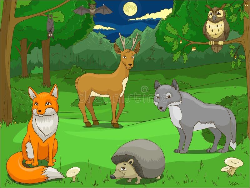 Δάσος με το εκπαιδευτικό παιχνίδι ζώων κινούμενων σχεδίων διανυσματική απεικόνιση