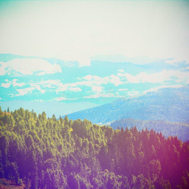 Δάσος παραμυθιού στο αναδρομικό ύφος Τρύγος εγγράφου κατασκευασμένος Τοπίο βουνών, απεικόνιση αποθεμάτων