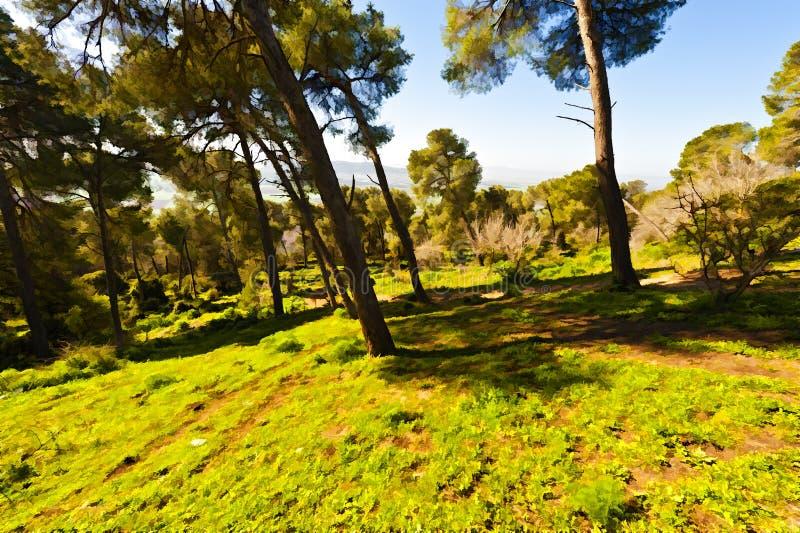 Δάσος στο υποστήριγμα Tabor διανυσματική απεικόνιση