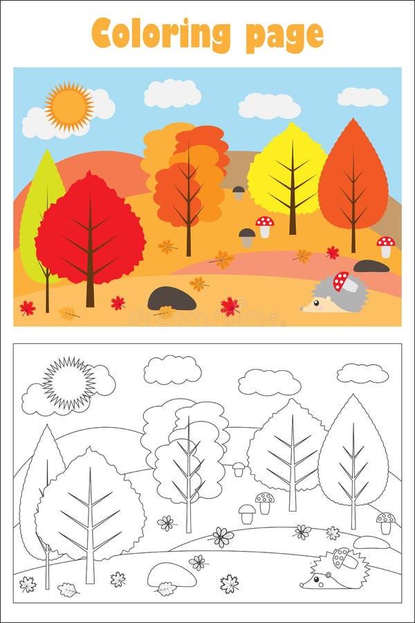 Δάσος φθινοπώρου στο ύφος κινούμενων σχεδίων, χρωματίζοντας σελίδα, παιχνίδι εγγράφου εκπαίδευσης για την ανάπτυξη των παιδιών, π ελεύθερη απεικόνιση δικαιώματος