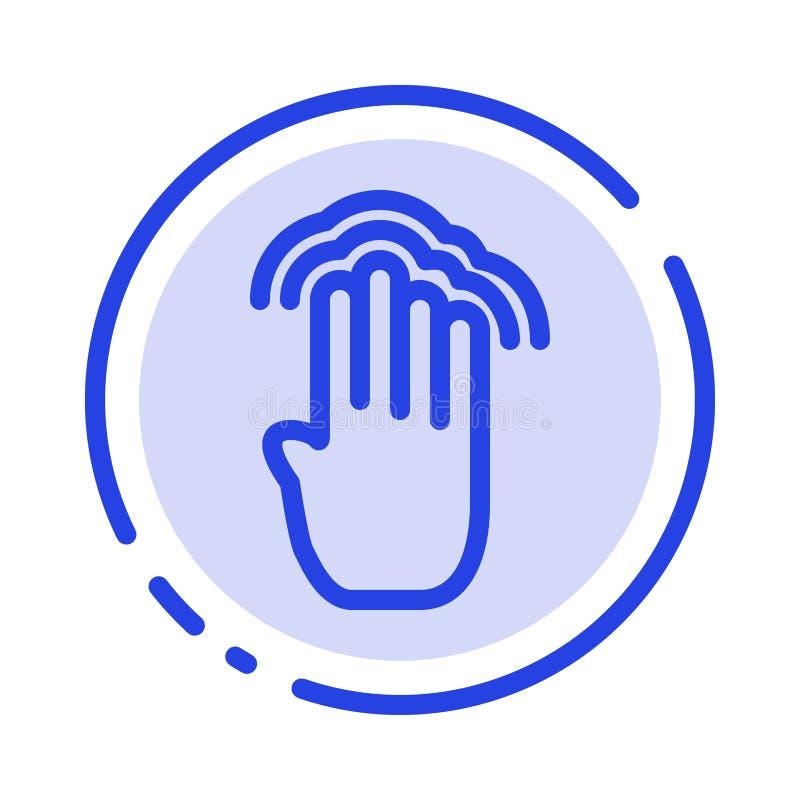Δάχτυλα, τέσσερα, χειρονομίες, διεπαφή, πολλαπλάσιο εικονίδιο γραμμών διαστιγμένων γραμμών βρυσών μπλε διανυσματική απεικόνιση