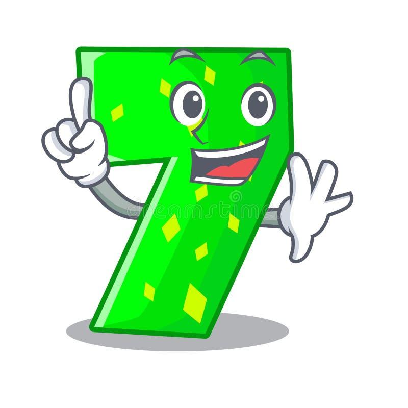 Δάχτυλο αριθμός επτά που απομονώνεται στη μασκότ απεικόνιση αποθεμάτων