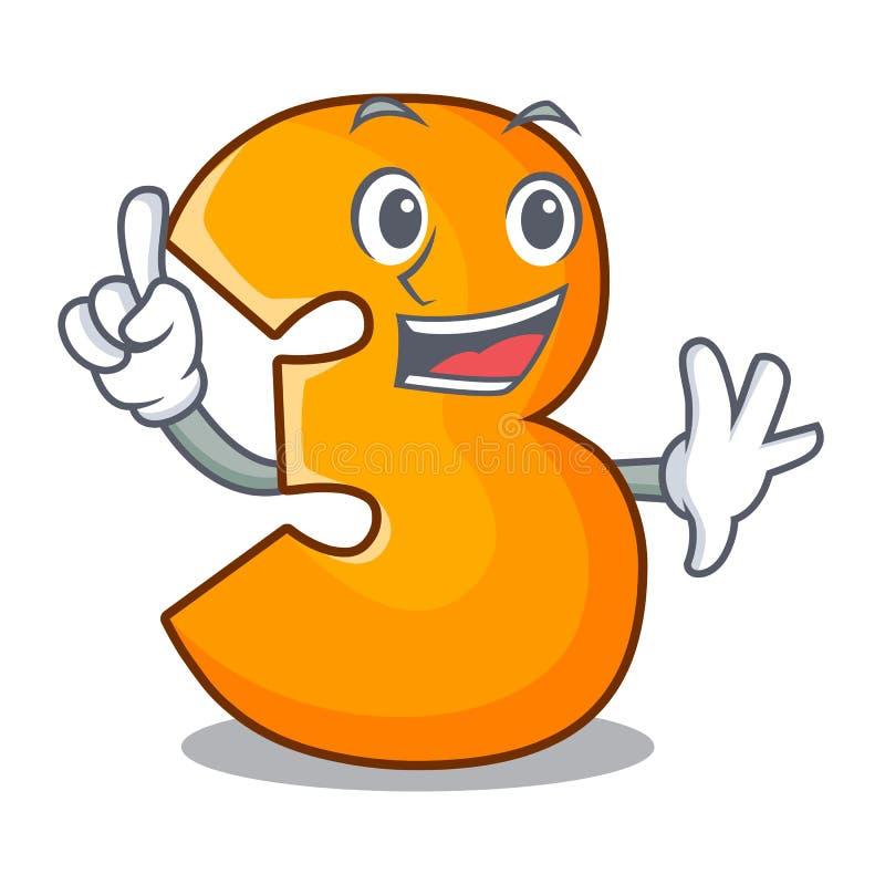 Δάχτυλο αριθμός τρία που απομονώνεται στη μασκότ ελεύθερη απεικόνιση δικαιώματος