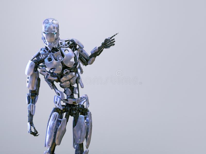 Δάχτυλο ατόμων ρομπότ cyborg αρρενωπό που δείχνει, στο υπόβαθρο στούντιο τρισδιάστατη απεικόνιση απεικόνιση αποθεμάτων