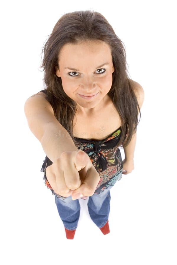 δάχτυλο που δείχνει τη γυναίκα στοκ εικόνα