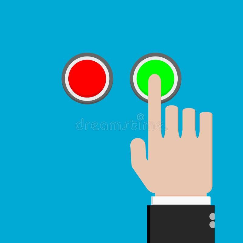 Δάχτυλο χεριών που πιέζει το πράσινο κουμπί διανυσματική απεικόνιση